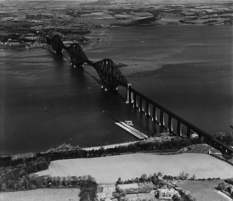 Forth Rail Bridge, Firth of Forth.  Oblique aerial photograph taken facing north.  This image has been produced from a print.