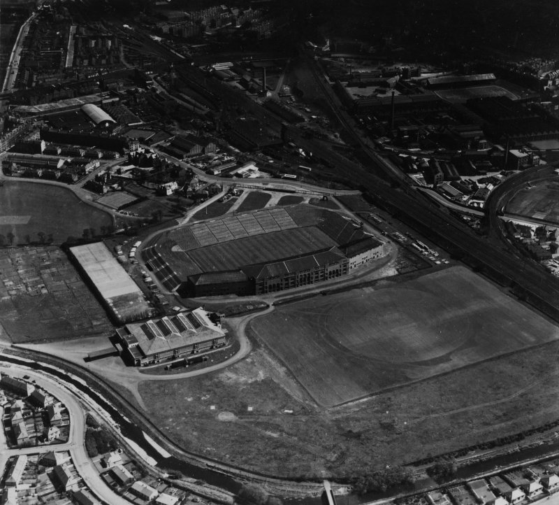 Murrayfield Rugby Football Ground, Roseburn Street, Edinburgh.  Oblique aerial photograph taken facing east.  This image has been produced from a print.