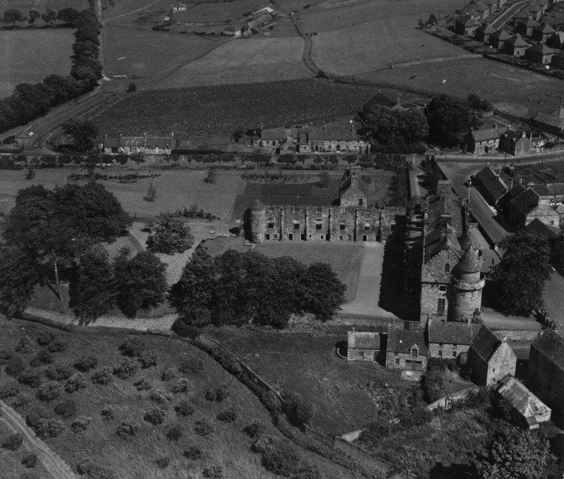Falkland Palace.  Oblique aerial photograph taken facing east.  This image has been produced from a print.