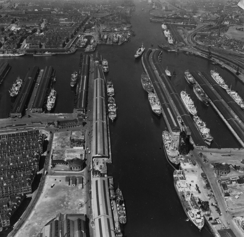 Prince's and Queen's Docks, Glasgow.  Oblique aerial photograph taken facing north-west.  This image has been produced from a print.