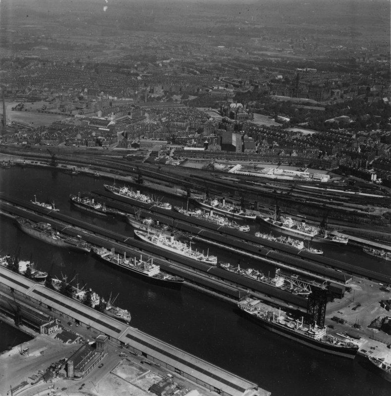 Queen's Dock, Glasgow.  Oblique aerial photograph taken facing north.  This image has been produced from a print.