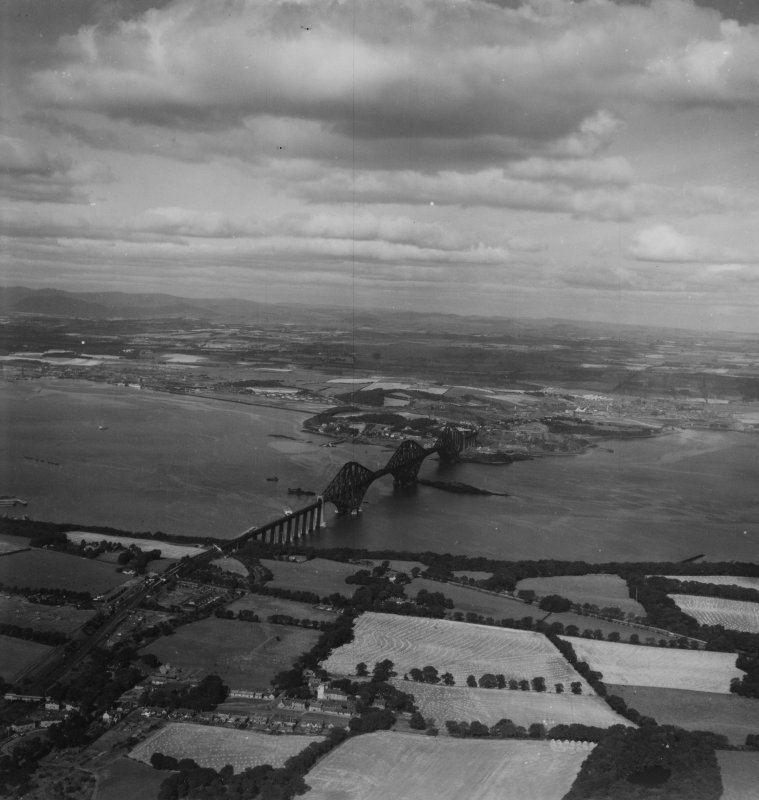 Firth of Forth, general view, showing Dalmeny and Forth Rail Bridge.  Oblique aerial photograph taken facing north.  This image has been produced from a print.