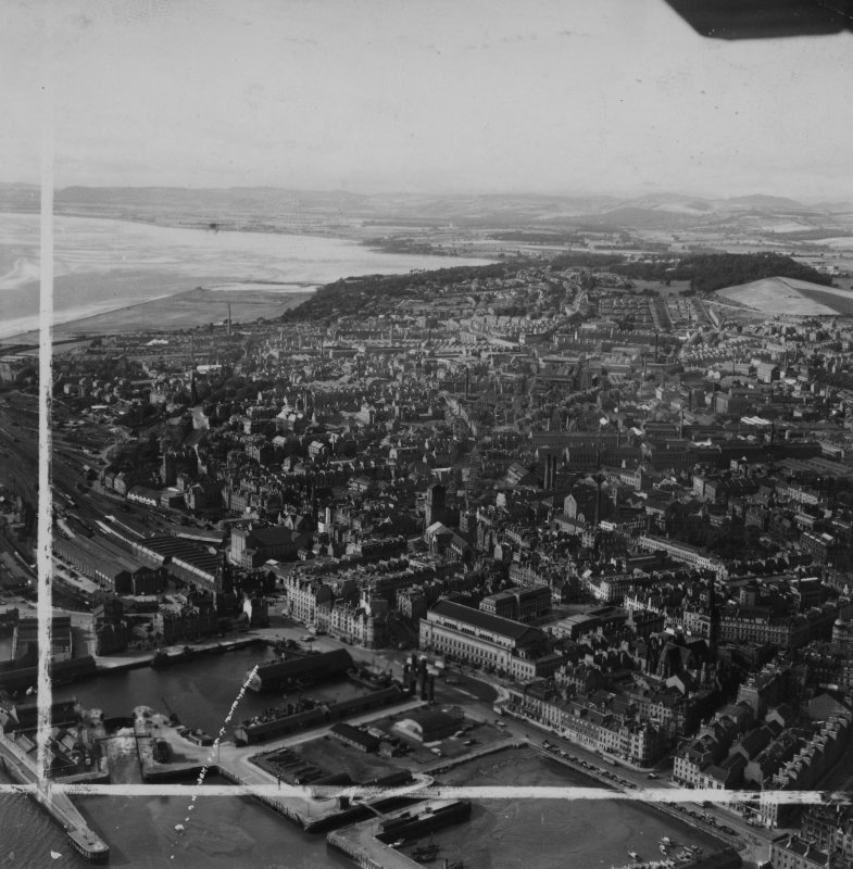Dundee, general view, showing Caird Hall, City Square and Inner Tay Estuary.  Oblique aerial photograph taken facing west.  This image has been produced from a crop marked print.