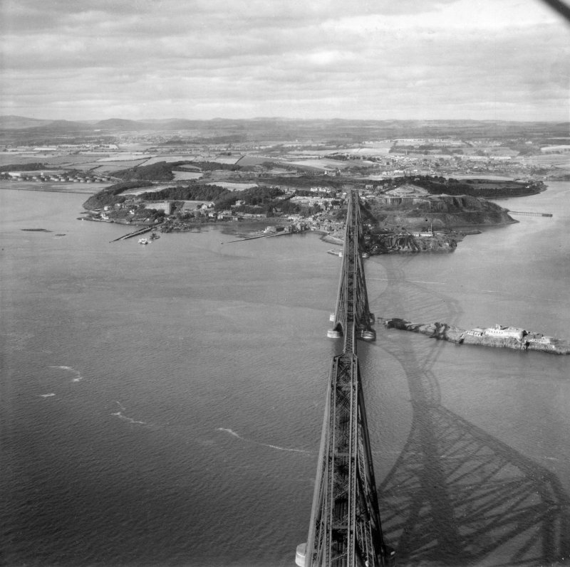 Forth Rail Bridge and North Queensferry, Firth of Forth.  Oblique aerial photograph taken facing north.  This image has been produced from a print.