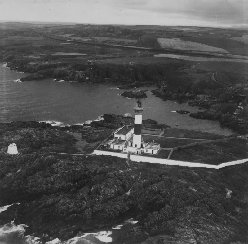 Buchan Ness Lighthouse, Boddam.  Oblique aerial photograph taken facing south-west.  This image has been produced from a print.
