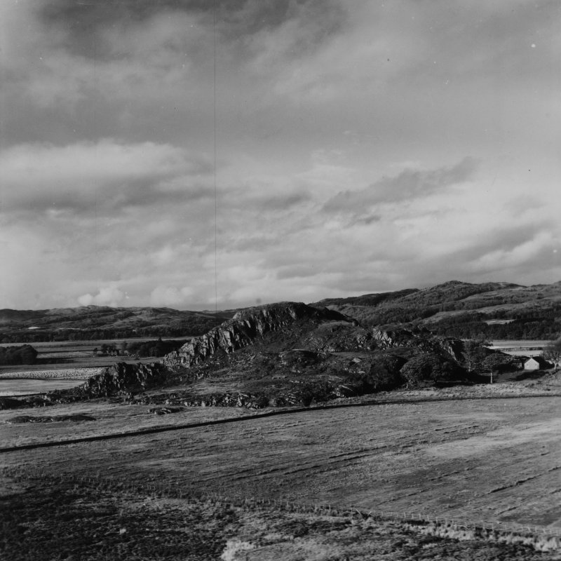 Dunadd, Kilmichael Glassary.  Oblique aerial photograph taken facing north.  This image has been produced from a print.