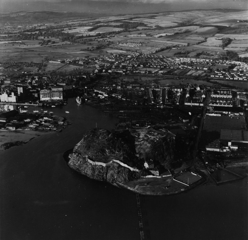 Dumbarton, general view, showing Dumbarton Rock and River Leven Tidal Basin.  Oblique aerial photograph taken facing north.  This image has been produced from a print.