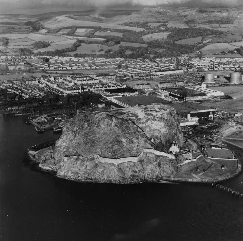 Dumbarton Rock.  Oblique aerial photograph taken facing north-east.  This image has been produced from a print.