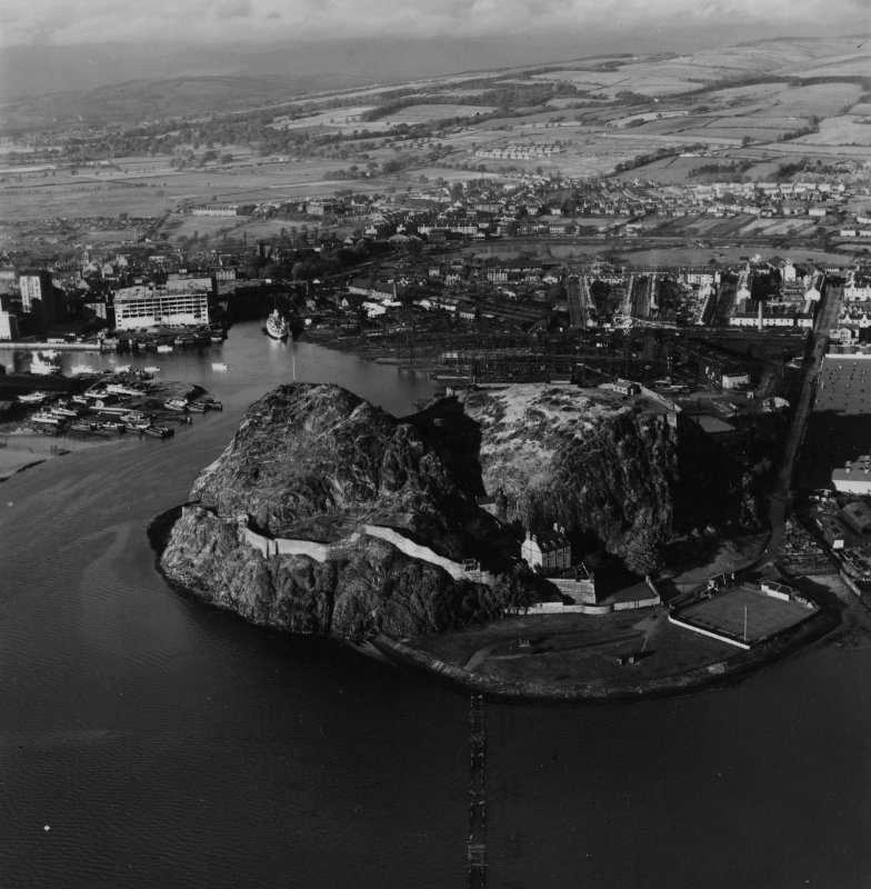 Dumbarton Rock.  Oblique aerial photograph taken facing north.  This image has been produced from a print.