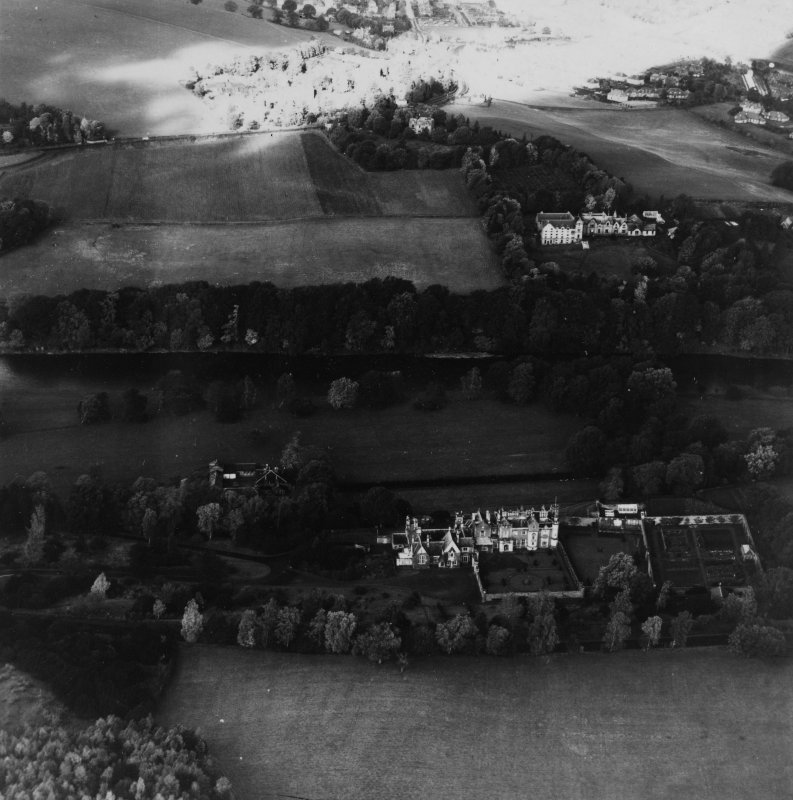 Abbotsford House and Grounds, Melrose.  Oblique aerial photograph taken facing north-west.  This image has been produced from a print.
