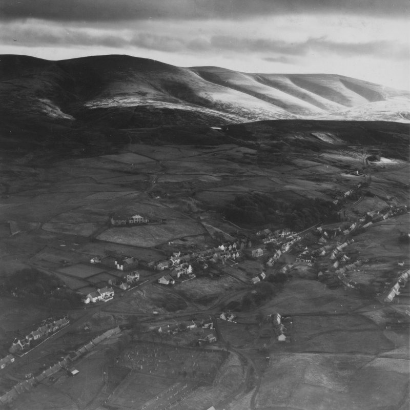 Leadhills and Lowther Hills.  Oblique aerial photograph taken facing south.  This image has been produced from a print.