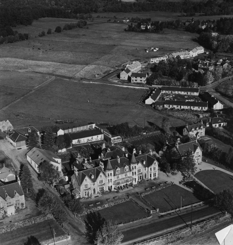 Craiglynne Hotel, Woodlands Terrace, Grantown-on-Spey.  Oblique aerial photograph taken facing north.  This image has been produced from a damaged print.