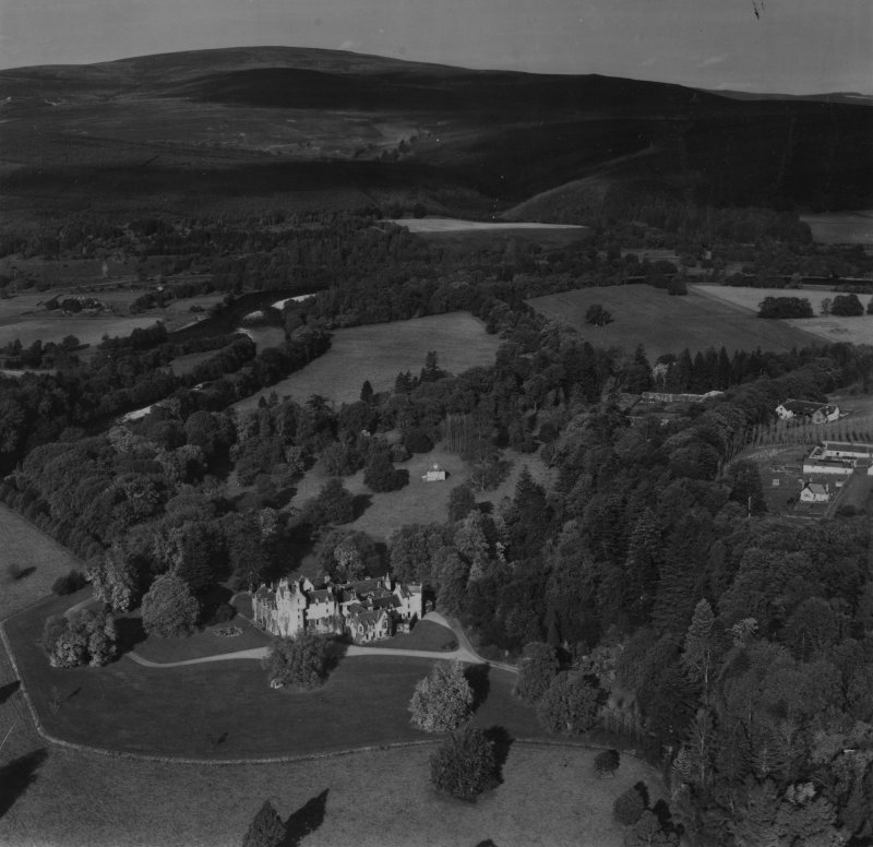 Ballindalloch Castle.  Oblique aerial photograph taken facing north-west.  This image has been produced from a print.