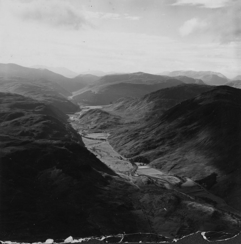 River Meig and Creag Clach Loundrain, Strathconon Forest.  Oblique aerial photograph taken facing south-west.  This image has been produced from a damaged print.