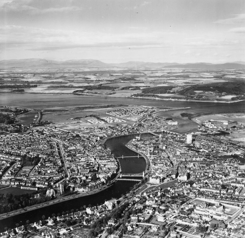 Inverness, general view.  Oblique aerial photograph taken facing north-west.  This image has been produced from a print.