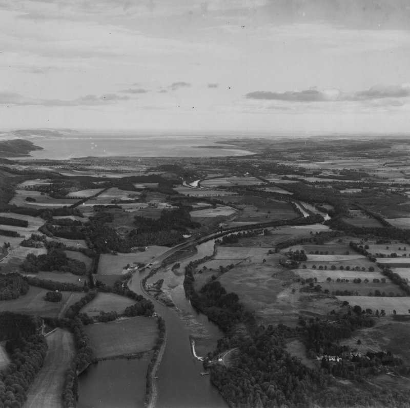 Caledonian Canal, general view.  Oblique aerial photograph taken facing north-east.  This image has been produced from a print.