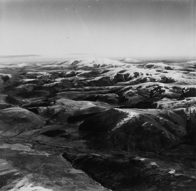 Cheviot Hills, general view, showing Woden Law and Langside Law.  Oblique aerial photograph taken facing east.  This image has been produced from a print.