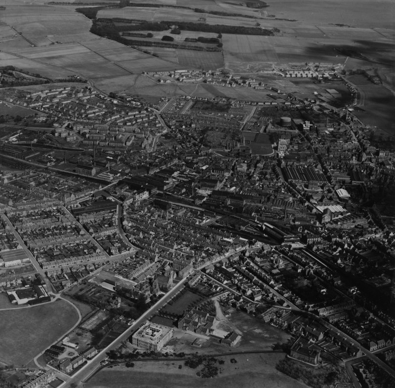 Arbroath, general view.  Oblique aerial photograph taken facing north-east.  This image has been produced from a print.
