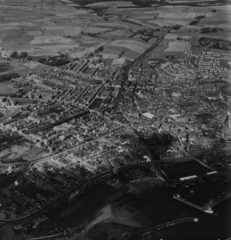 Arbroath, general view.  Oblique aerial photograph taken facing north.  This image has been produced from a print.