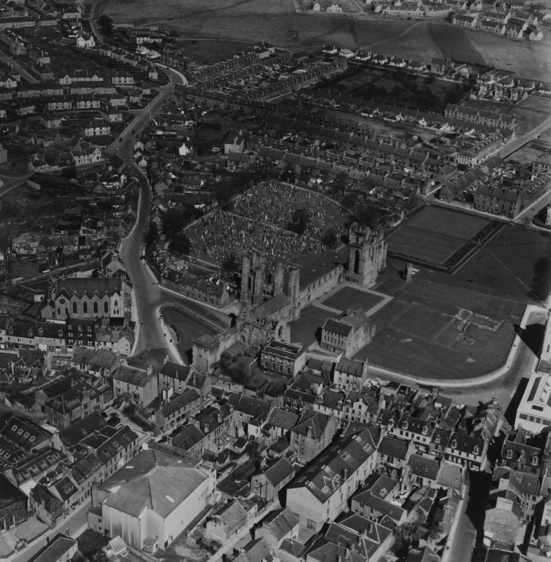 Arbroath, general view, showing Arbroath Abbey and Hayswell Park.  Oblique aerial photograph taken facing north-east.  This image has been produced from a print.