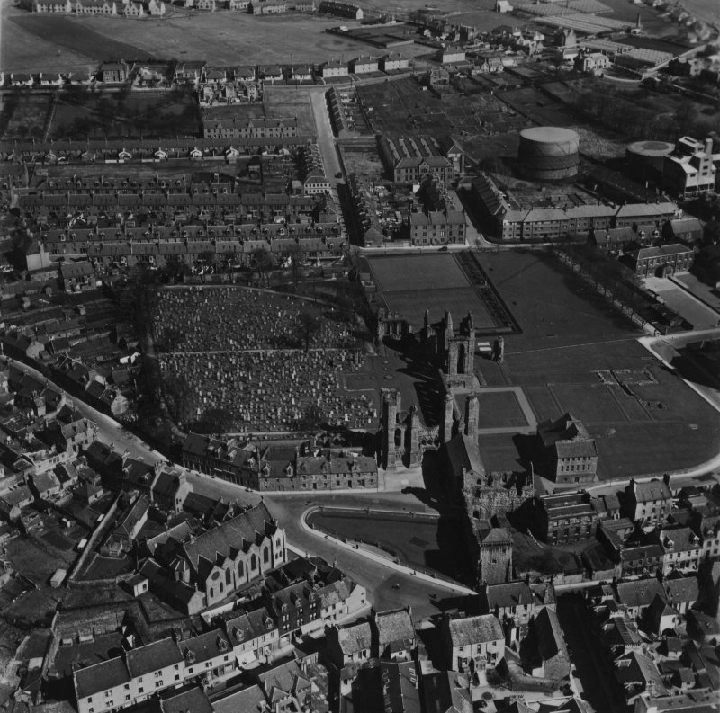 Arbroath Abbey.  Oblique aerial photograph taken facing east.  This image has been produced from a print.