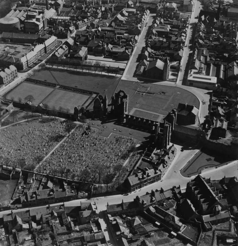 Arbroath Abbey.  Oblique aerial photograph taken facing south-east.  This image has been produced from a print.