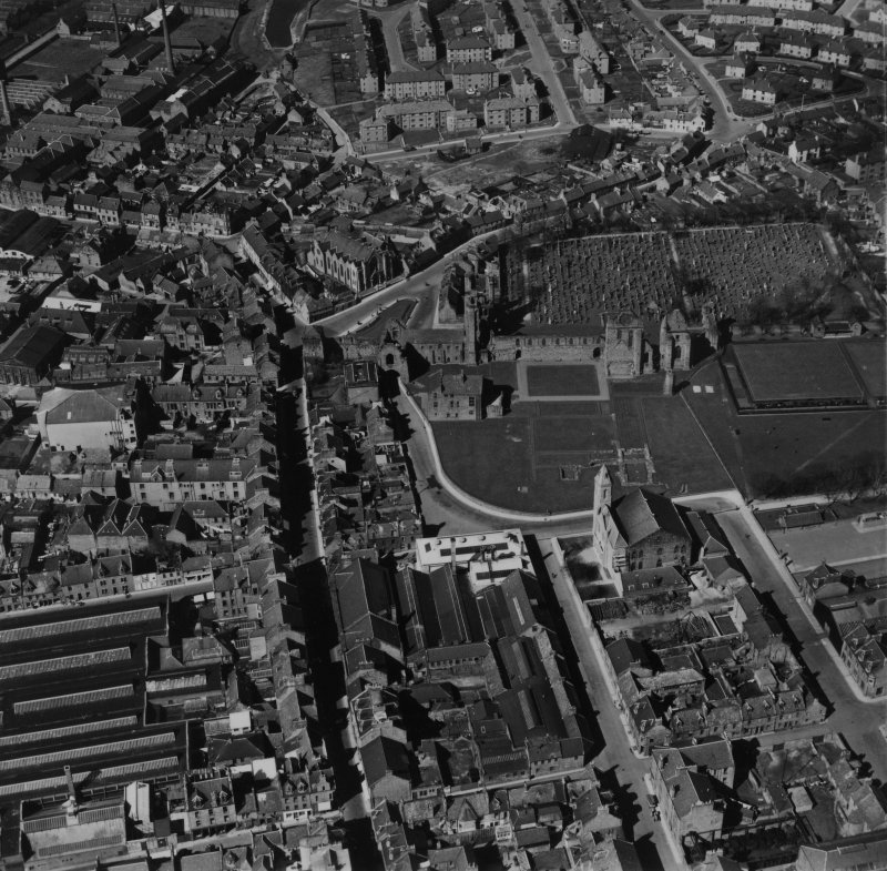 Arbroath, general view, showing Arbroath Abbey and High Street.  Oblique aerial photograph taken facing north.  This image has been produced from a print.