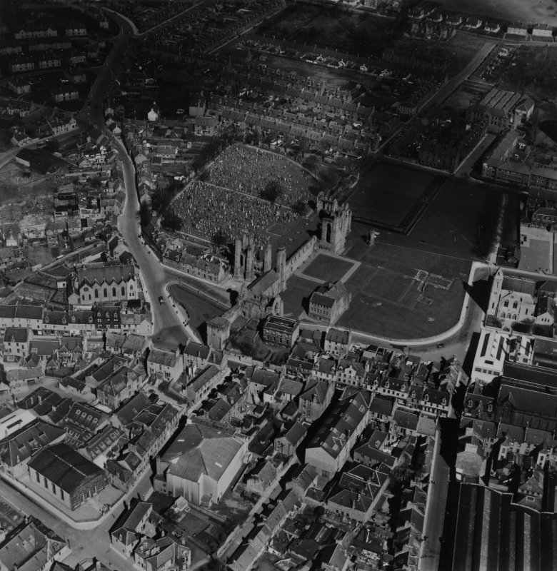 Arbroath, general view, showing Arbroath Abbey and High Street.  Oblique aerial photograph taken facing north-east.  This image has been produced from a print.