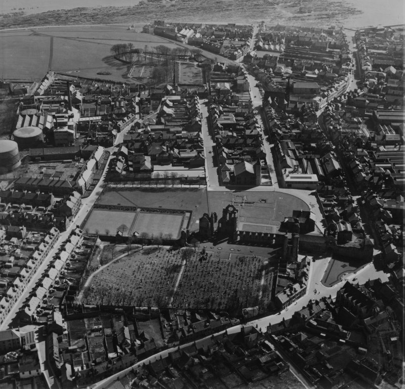 Arbroath, general view, showing Arbroath Abbey and Boulzie Hill.  Oblique aerial photograph taken facing south.  This image has been produced from a print.
