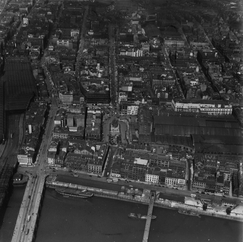 Glasgow, general view, showing St Enoch Station and Jamaica Street.  Oblique aerial photograph taken facing north.  This image has been produced from a print.