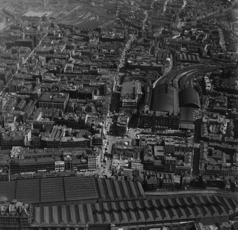 Glasgow, general view, showing St Enoch Station and College Goods Station.  Oblique aerial photograph taken facing east.  This image has been produced from a print.