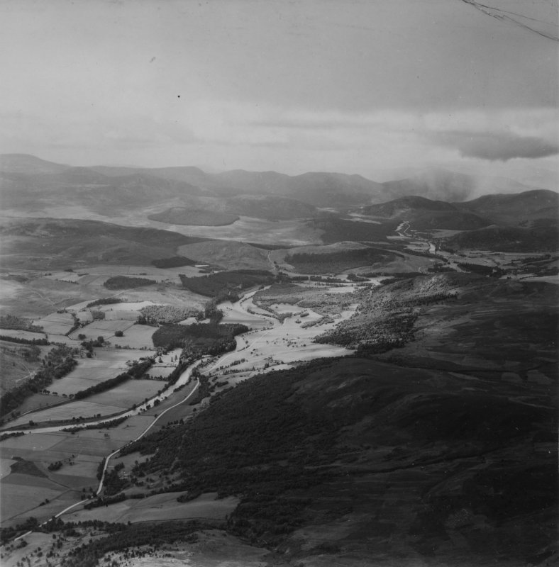 River Dee and Sron Dubh, Balmoral Estate.  Oblique aerial photograph taken facing south-west.  This image has been produced from a print.