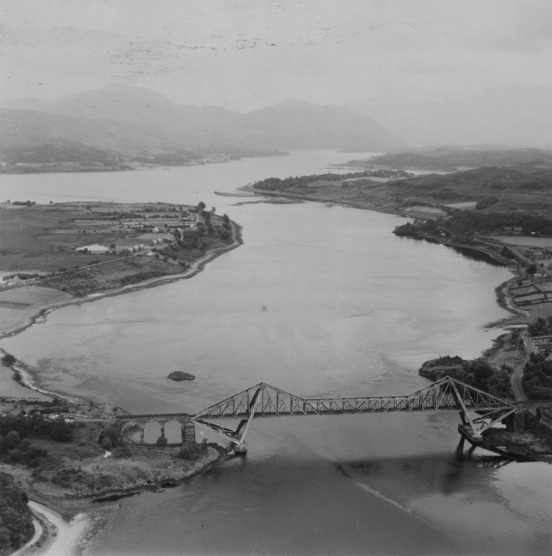 Connel Bridge and Loch Etive.  Oblique aerial photograph taken facing east.  This image has been produced from a print.