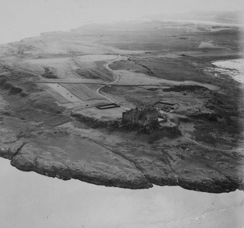 Duart Castle, Duart Point, Mull.  Oblique aerial photograph taken facing south.  This image has been produced from a print.