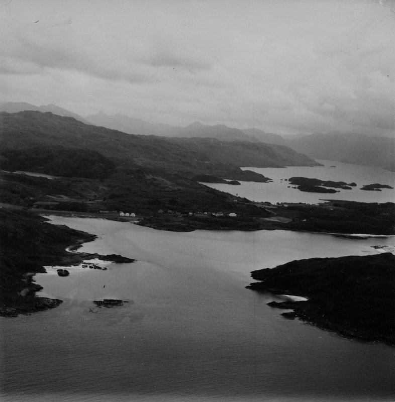 Morar Bay and Loch Morar.  Oblique aerial photograph taken facing east.  This image has been produced from a print.