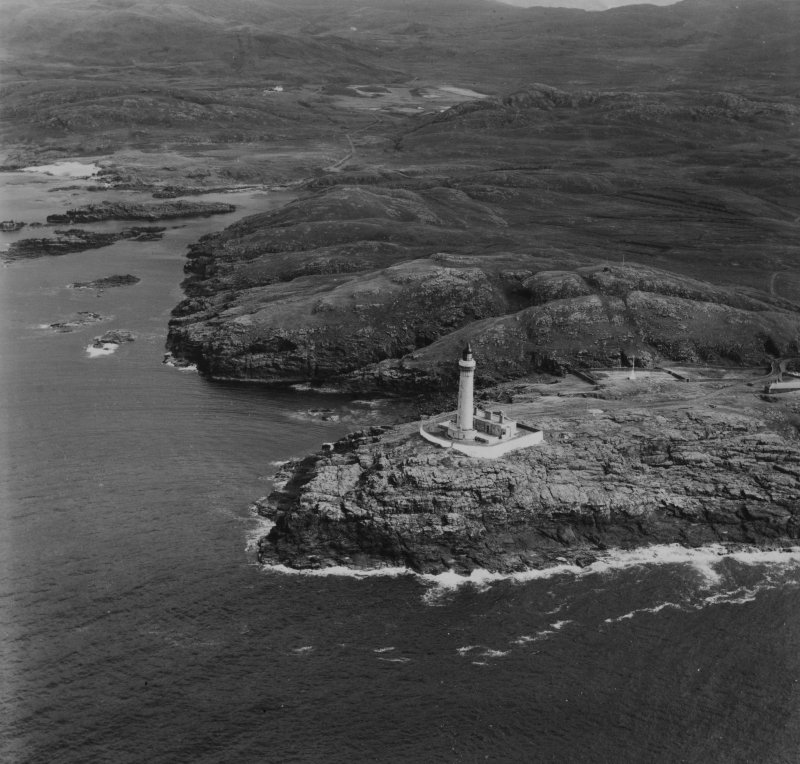Ardnamurchan Lighthouse and Grigadale.  Oblique aerial photograph taken facing east.  This image has been produced from a print.