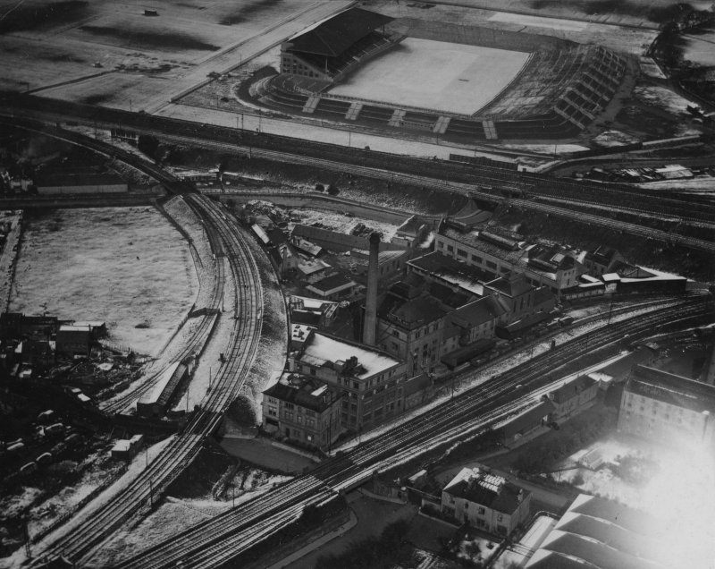 T and H Smith Ltd. Blandfield Chemical Works, Wheatfield Road and Murrayfield Rugby Football Ground, Edinburgh.  Oblique aerial photograph taken facing north-west.  This image has been produced from a print.