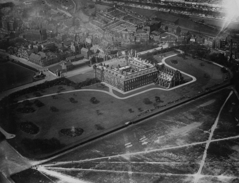 Palace of Holyroodhouse, Edinburgh.  Oblique aerial photograph taken facing north-west.  This image has been produced from a print.