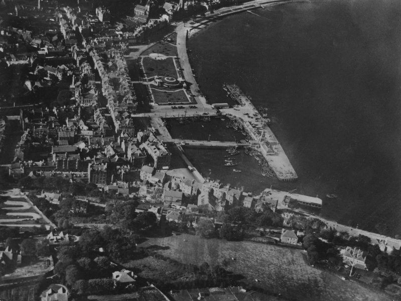 Rothesay, general view, showing Rothesay Harbour and Winter Gardens, Isle of Bute.  Oblique aerial photograph taken facing west.  This image has been produced from a print.
