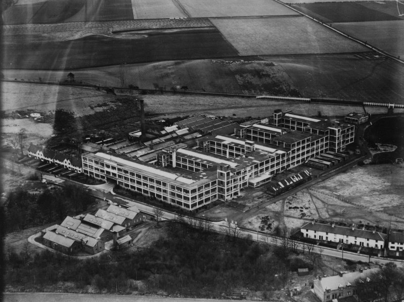 Arrol-Aster Car Factory, Heathhall, Dumfries.  Oblique aerial photograph taken facing east.  This image has been produced from a print.