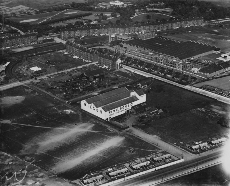William Wilson and Co. Lilybank Boiler Works and Macfarlane, Lang and Co. Biscuit Factory, Clydeford Drive, Glasgow.  Oblique aerial photograph taken facing east.  This image has been produced from a print.