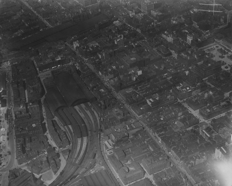 Glasgow, general view, showing St Enoch Station and Argyle Street, Glasgow.  Oblique aerial photograph taken facing north-west.  This image has been produced from a marked print.