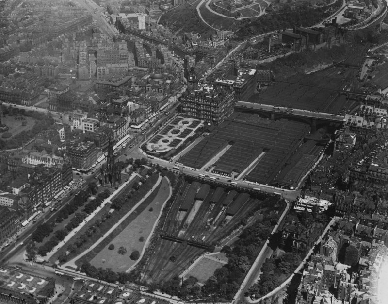East Princes Street Gardens and Waverley Station, Edinburgh.  Oblique aerial photograph taken facing north-east.  This image has been produced from a print.