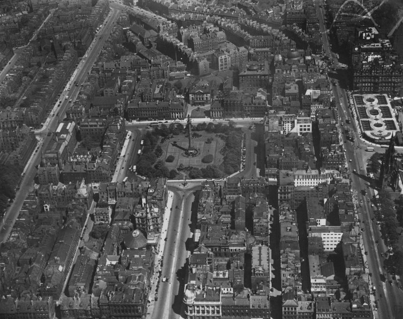 Edinburgh, general view, showing St Andrew Square and Queen Street.  Oblique aerial photograph taken facing east.  This image has been produced from a marked print.