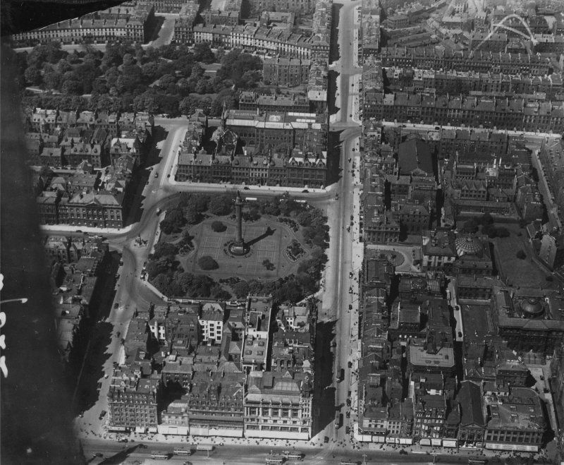 Edinburgh, general view, showing St Andrew Square and Scottish National Portrait Gallery, Queen Street.  Oblique aerial photograph taken facing north.  This image has been produced from a marked print ...