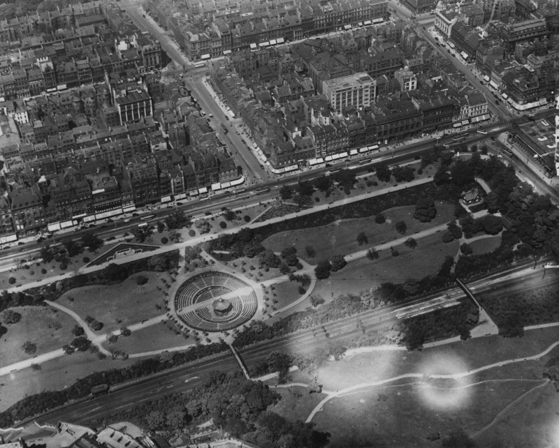 West Princes Street Gardens and Frederick Street, Edinburgh.  Oblique aerial photograph taken facing north.  This image has been produced from a print.