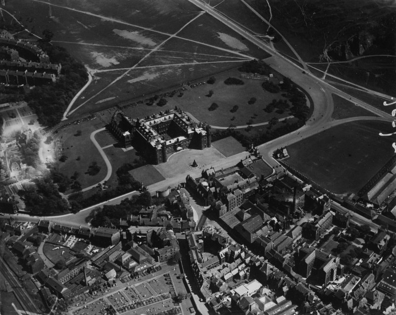 Palace of Holyroodhouse, Edinburgh.  Oblique aerial photograph taken facing east.  This image has been produced from a print.