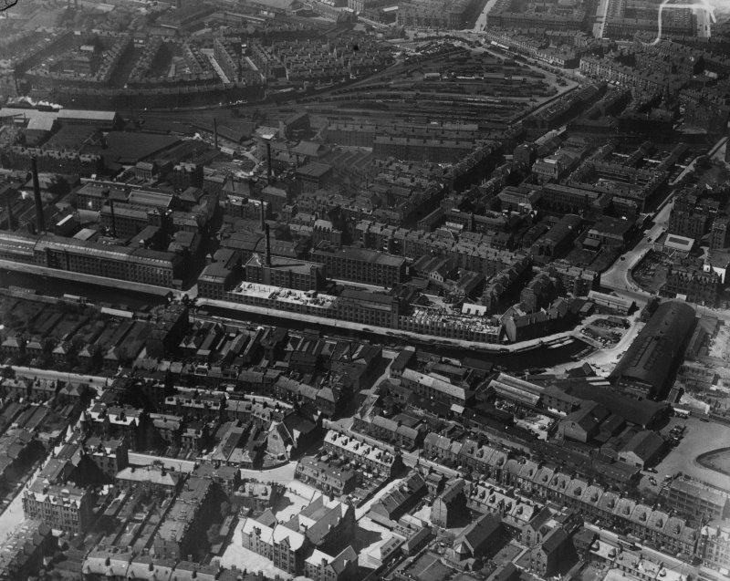 Edinburgh, general view, showing Fountain Brewery, Dundee Street and Grove Street.  Oblique aerial photograph taken facing north-west.  This image has been produced from a marked print.