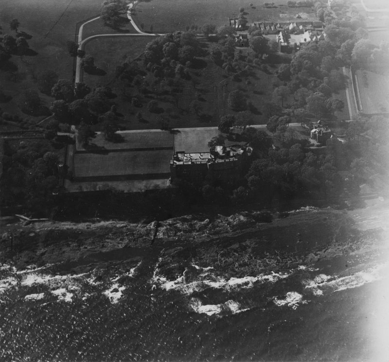 Wemyss Castle and Home Farm, West Wemyss.  Oblique aerial photograph taken facing north-west.  This image has been produced from a print.