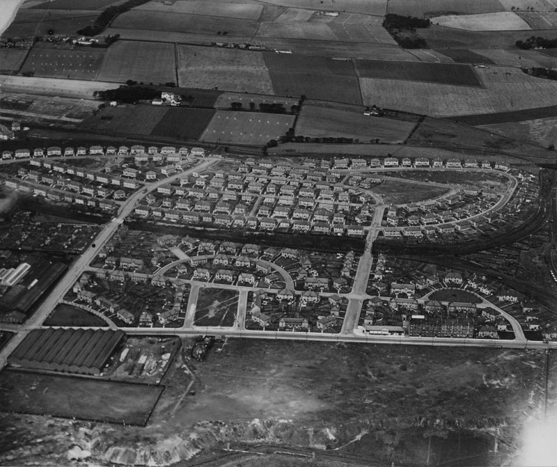 Ashfield Housing Estate, Glasgow.  Oblique aerial photograph taken facing north.  This image has been produced from a damaged print.